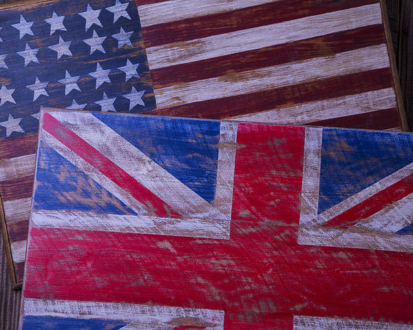 Two Poster featuring the photograph Two Wooden Flags by Garry Gay