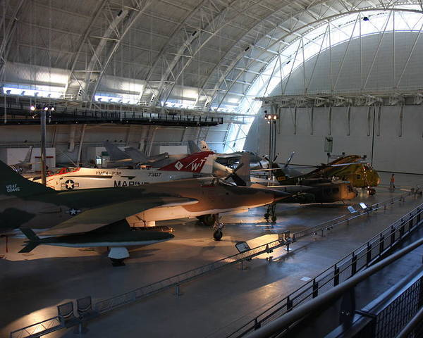 Udvar Poster featuring the photograph Udvar-hazy Center - Smithsonian National Air And Space Museum Annex - 12125 by DC Photographer