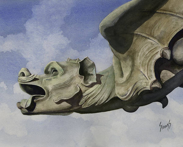 Gargoyle Poster featuring the painting Ulmer Munster Gargoyle by Sam Sidders