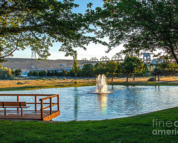 Pond Poster featuring the photograph Umatilla Fountain Pond by Robert Bales