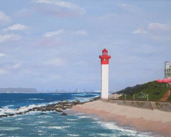 Umhlanga Lighthouse Poster featuring the painting Umhlanga Lighthouse Durban by Jenny Smith