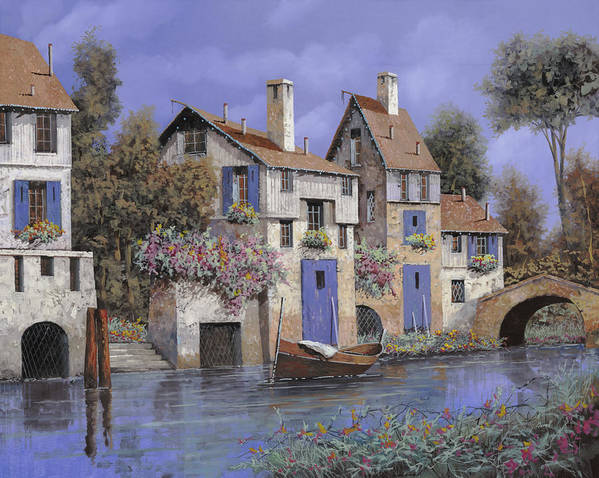 Stream Poster featuring the painting Un Borgo Tutto Blu by Guido Borelli