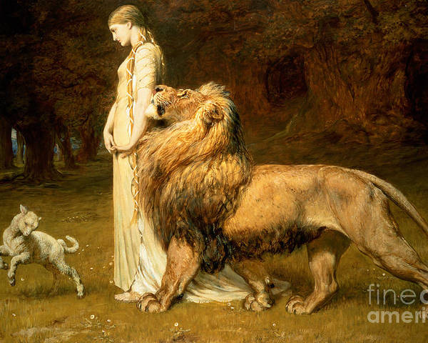 Lamb Poster featuring the painting Una And Lion From Spensers Faerie Queene by Briton Riviere
