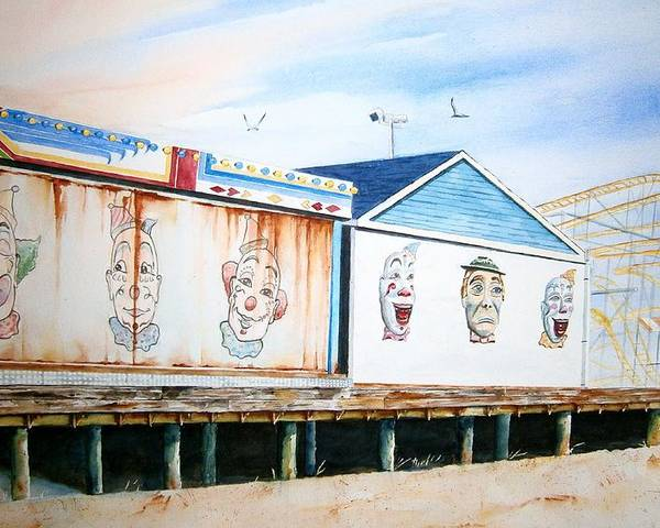 Clowns Poster featuring the painting Under The Boardwalk by Brian Degnon