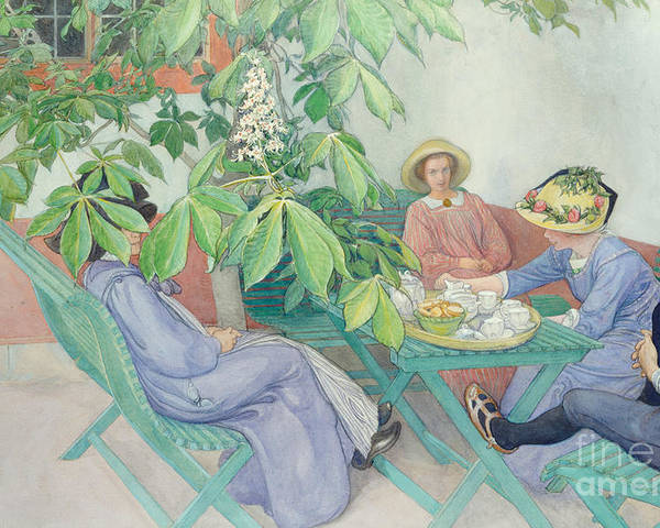 Women; Female; Group; Chatting; Tea; Drinking; Patio; Outdoors; Al Fresco; Biscuits; Straw Poster featuring the painting Under The Chestnut Tree by Carl Larsson