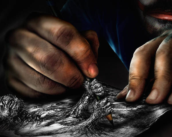 Hands Poster featuring the digital art Unfinished by Alessandro Della Pietra