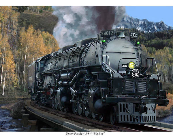 Railroad Poster featuring the painting Union Pacific 4-8-8-4 Big Boy by Mark Karvon