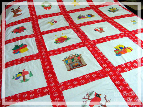 Unique Quilt With Christmas Season Images Poster featuring the tapestry - textile Unique Quilt With Christmas Season Images by Barbara Griffin