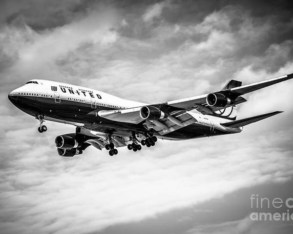 747 Poster featuring the photograph United Airlines Airplane In Black And White by Paul Velgos
