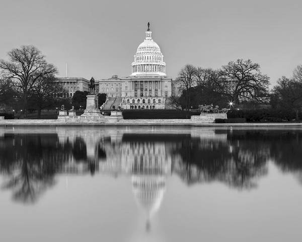 Capitol Hill Poster featuring the photograph United States Capitol Building Bw by Susan Candelario