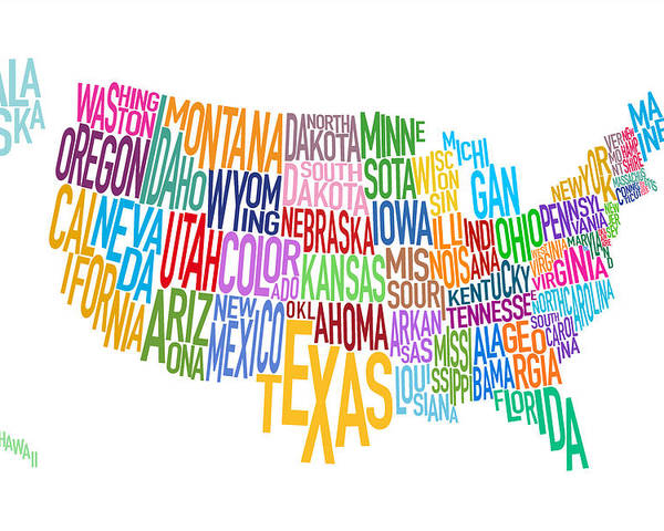 United States Text Map Poster by Michael Tompsett