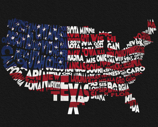 United States Typographic Map Flag - Black Background Poster by ...
