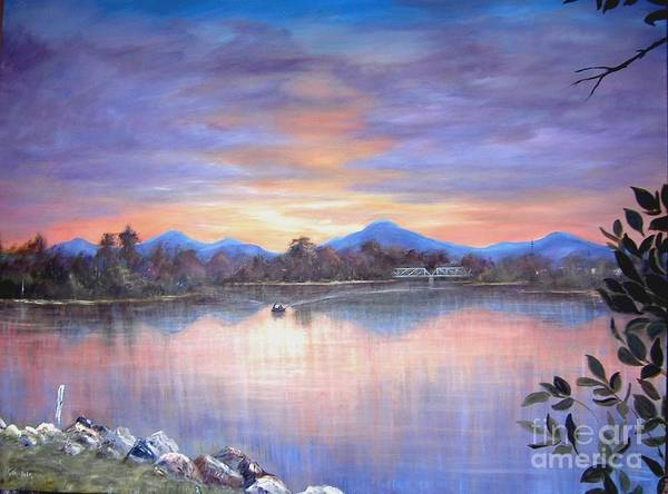 River Poster featuring the painting Upriver by Rita Palm