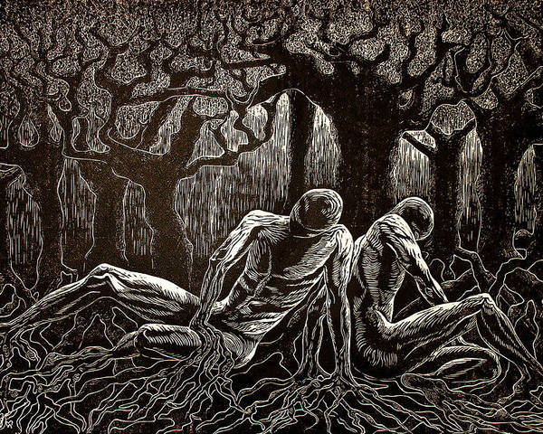 Figures Poster featuring the relief Uprooted by Maria Arango Diener