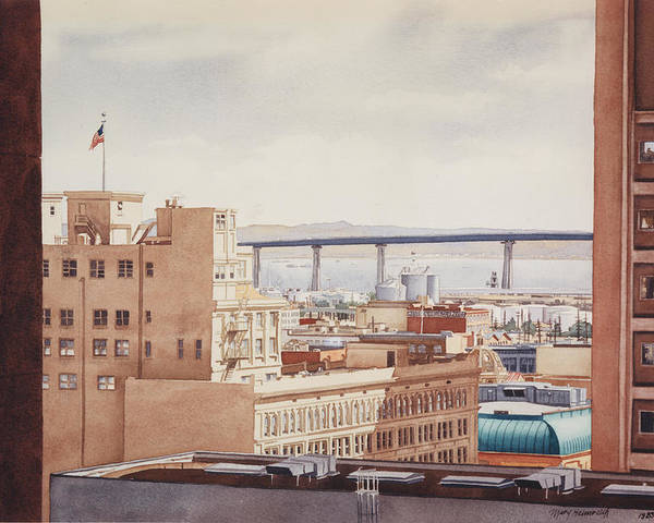 Us Grant Hotel Poster featuring the painting Us Grant Hotel In San Diego by Mary Helmreich
