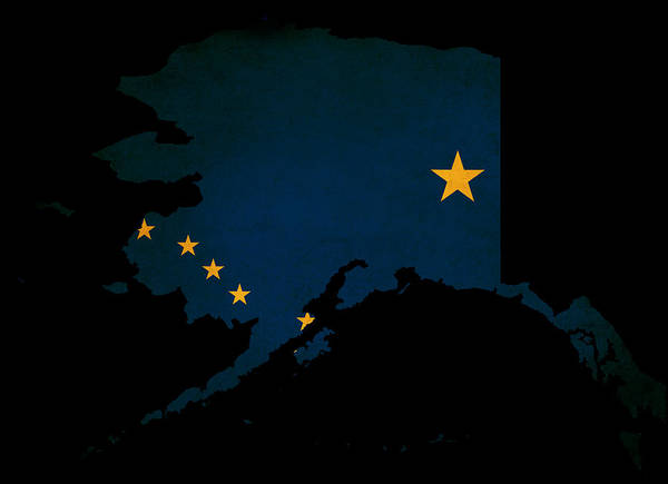 Usa Poster featuring the photograph Usa American Alaska State Map Outline With Grunge Effect Flag by Matthew Gibson