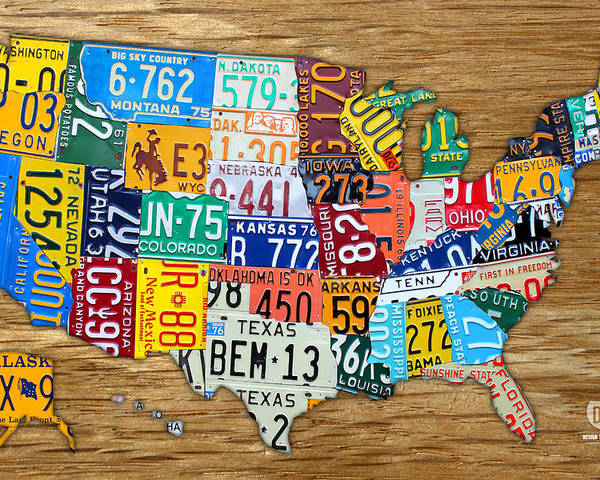 License Plate Map Poster featuring the mixed media Usa License Plate Map Car Number Tag Art On Light Brown Stained Board by Design Turnpike