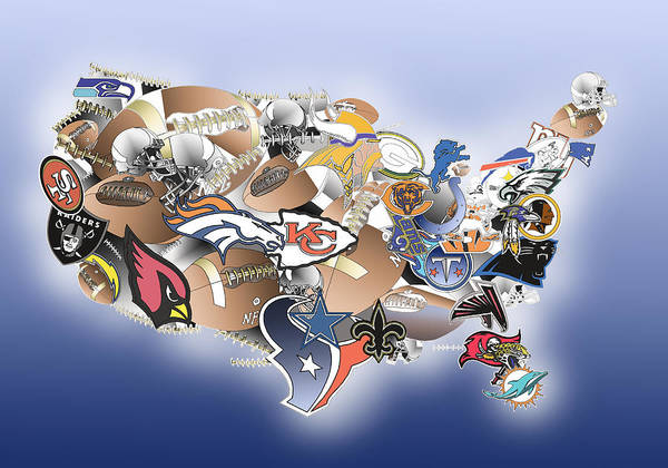 nfl poster featuring the painting usa nfl map collage by bekim art