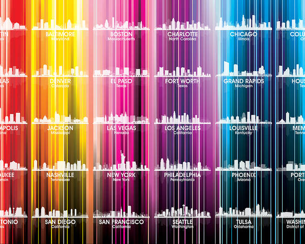 City Silhouette Poster featuring the mixed media Usa Skylines 2 by Angelina Tamez