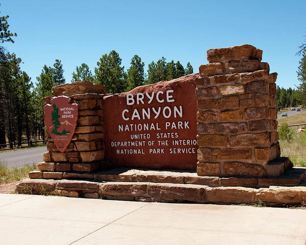 Bryce Poster featuring the photograph Usa, Utah, Park Service Signage by Lee Foster