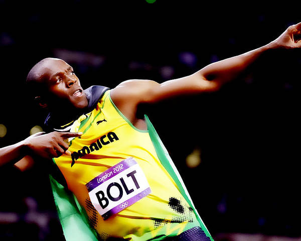 Usain Bolt Poster featuring the digital art Usain Bolt Sweet Victory II by Brian Reaves