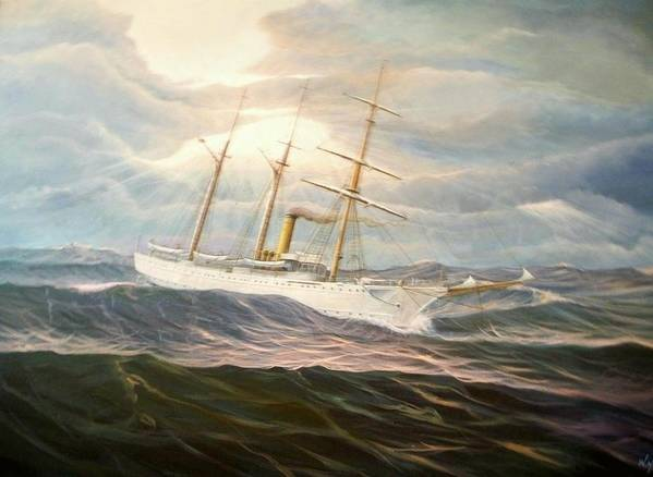 Tall Ships Poster featuring the painting Uscgc Alexander Hamilton by William H RaVell III