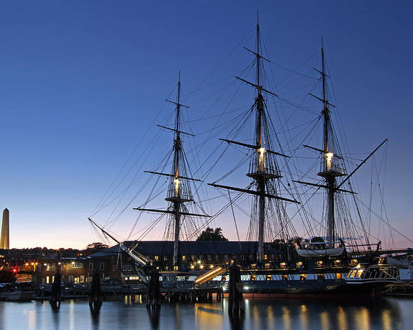 Boston Poster featuring the photograph Uss Constitution And Bunker Hill Monument by Juergen Roth