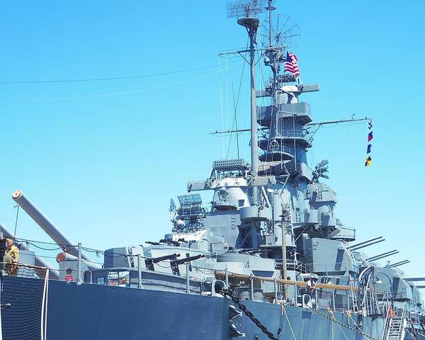 Boat Poster featuring the photograph U.s.s Massachusetts by Ashley Casterline