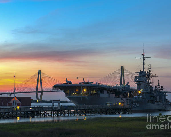Sunset Poster featuring the photograph Uss Yorktown Sunset by Dale Powell
