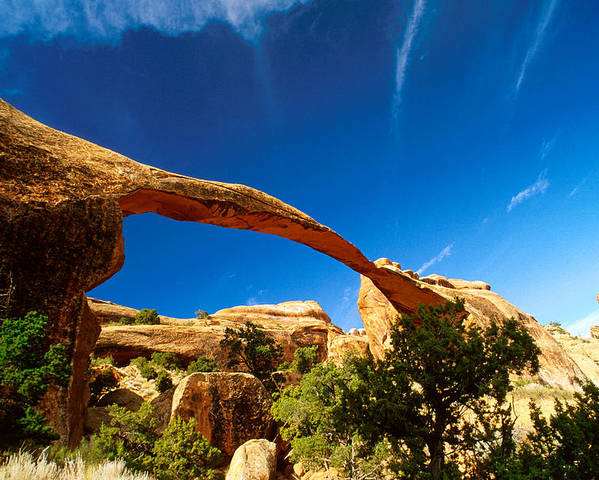No People; Horizontal; Outdoors; Day; Landscape; Eroded; Rock Formation; Tranquil Scene; Scenics; Travel; Clear Sky; Usa; Utah; Arches National Park; Natural Arch; Bush Poster featuring the photograph Utah Arches National Park by Anonymous