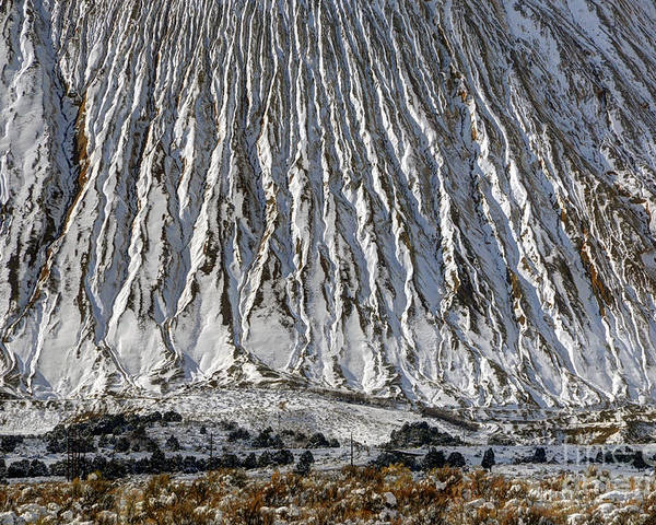 Utah Poster featuring the photograph Utah Copper Mine Tailings Pile In Winter by Gary Whitton