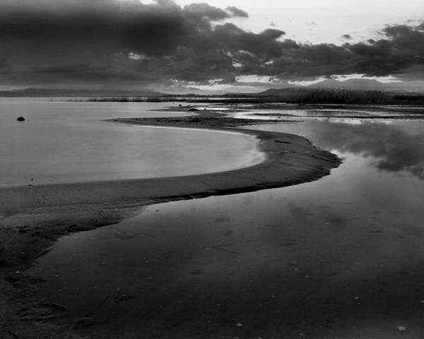 Shore Poster featuring the photograph Utah Lake Shoreline In Monochrome by Nathan Abbott