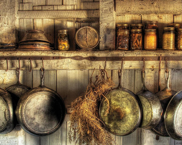 Marvelous Kitchen Poster Featuring The Photograph Utensils   Old Country Kitchen By  Mike Savad