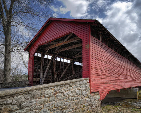 Utica Mills Poster featuring the photograph Utica Mills Covered Bridge by Joan Carroll