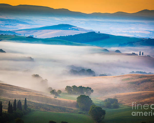 Europe Poster featuring the photograph Val D'orcia Enchantment by Inge Johnsson