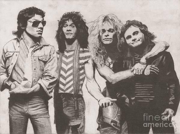 Alex Eddie Dave And Michael Rock Legends Van Halen Poster featuring the drawing Van Halen by Jeff Ridlen