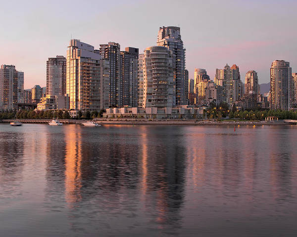 Vancouver Poster featuring the photograph Vancouver Bc Waterfront Condominiums by Jit Lim