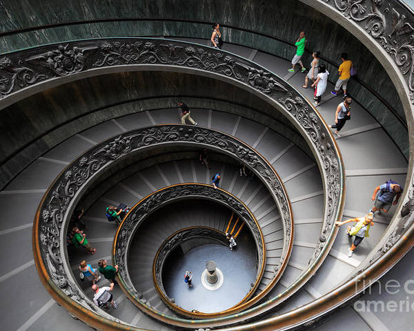 Europe Poster featuring the photograph Vatican Spiral Staircase by Inge Johnsson