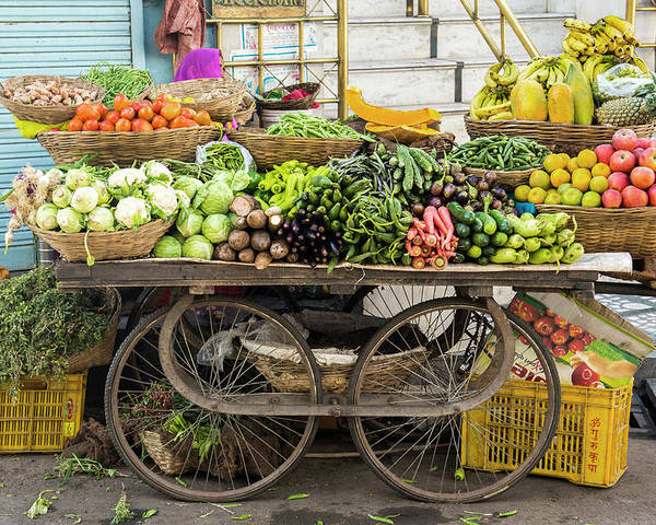 Retail Poster featuring the photograph Vegetable Trolley, Udaipur, Rajasthan by John Harper