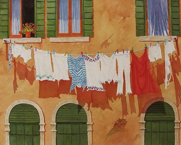 Venice Poster featuring the painting Venetian Washday by Mary Ellen Mueller Legault