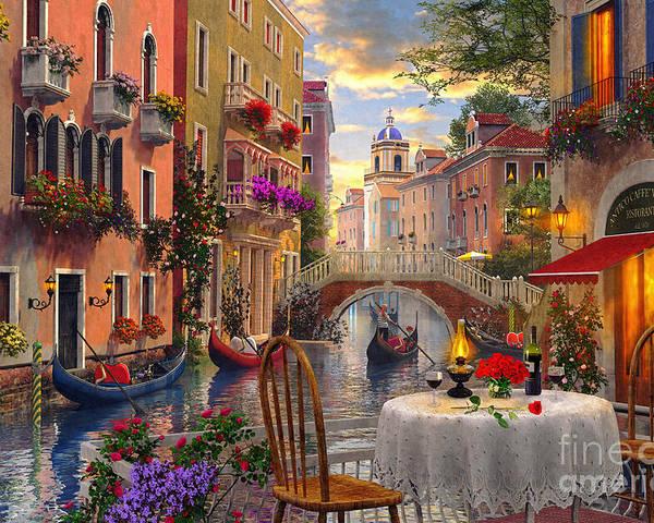 Dominic Davison Poster featuring the digital art Venice Al Fresco by Dominic Davison