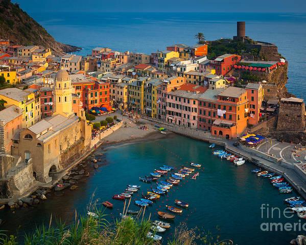 Cinque Terre Poster featuring the photograph Vernazza Pomeriggio by Inge Johnsson