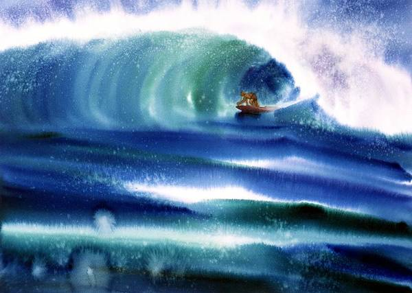 Surfing Canvas Prints Poster featuring the painting Vibration Of Youth by John YATO