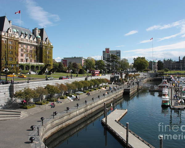 Victoria Poster featuring the photograph Victoria Harbour With Empress Hotel by Carol Groenen