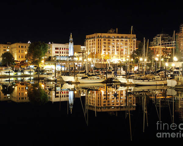 Harbour Poster featuring the photograph Victoria Inner Harbour At Night by Colin Cuthbert
