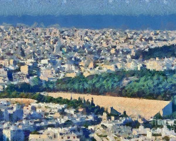 Athens; City; Capital; Attica; Attika; Attiki; Greece; Hellas; Greek; Hellenic; Europe; European; Panathenean; Panathenaic; Stadium; Olympic; Games; Old; Ancient; Morning; Light; Holidays; Vacation; Travel; Trip; Voyage; Journey; Tourism; Touristic; Summer; Summertime; Sea; View; Overview; Paint; Painting; Paintings Poster featuring the painting View Of Athens And Panathenean Stadium by George Atsametakis