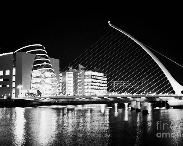 View Poster featuring the photograph View Of The Samuel Beckett Bridge Over The River Liffey And The Convention Centre Dublin At Night Du by Joe Fox