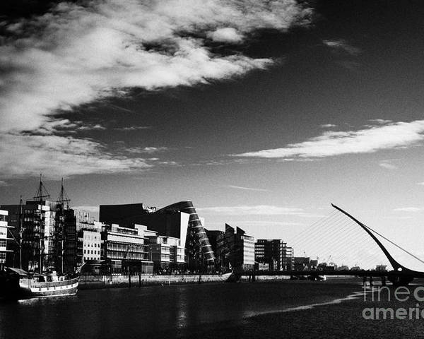 View Poster featuring the photograph View Of The Samuel Beckett Bridge Over The River Liffey And The Convention Centre Dublin Republic Of by Joe Fox