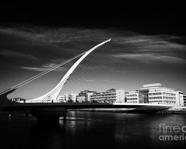 View Poster featuring the photograph View Of The Samuel Beckett Bridge Over The River Liffey Dublin Republic Of Ireland by Joe Fox