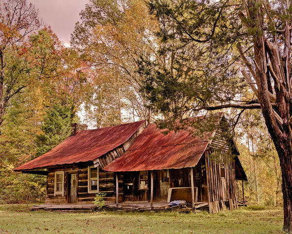 Appalachia Poster featuring the photograph Viintage Cabin by Debra and Dave Vanderlaan